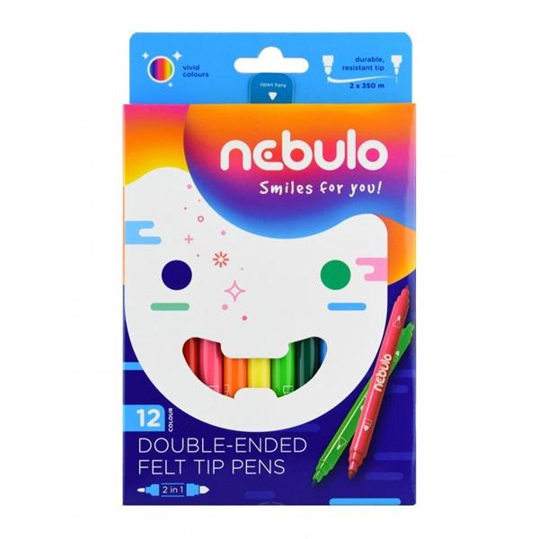 Nebuló kétvégű 12db-os vegyes színű filctoll készlet - 1