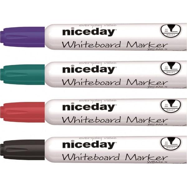 Niceday kerek hegyű 4db-os vegyes színű táblamarker készlet - 1