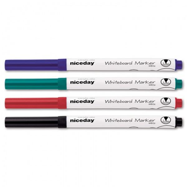 Niceday kerek vékony hegyű 4db-os vegyes színű táblamarker készlet - 1