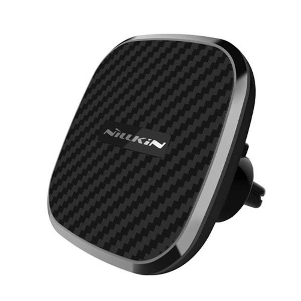 Nillkin NL154902 Qi 2A fekete szellőzőrácsba illeszthető vezeték nélküli autós töltő és tartó - 1