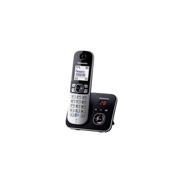 Panasonic KX-TG6821PDB DECT fehér háttérvil. kihang. üzenetrögzítős hívóazonosítós fekete telefon - 1