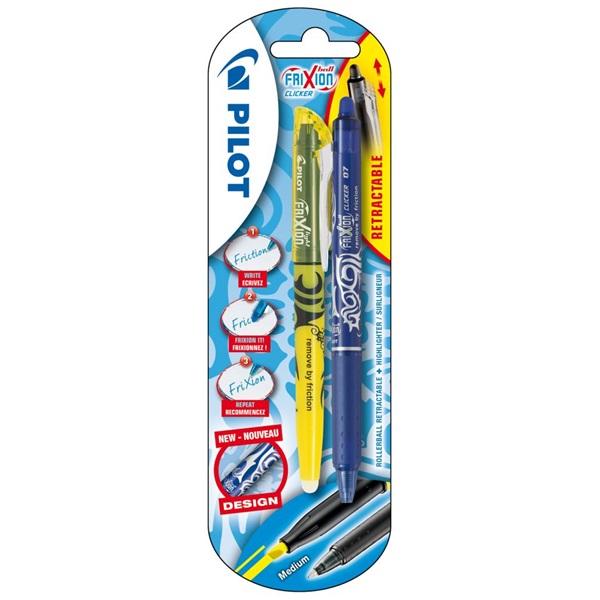 Pilot Frixion Clicker 1+1db-os kék/sárga rollerirón + szövegkiemelő - 1