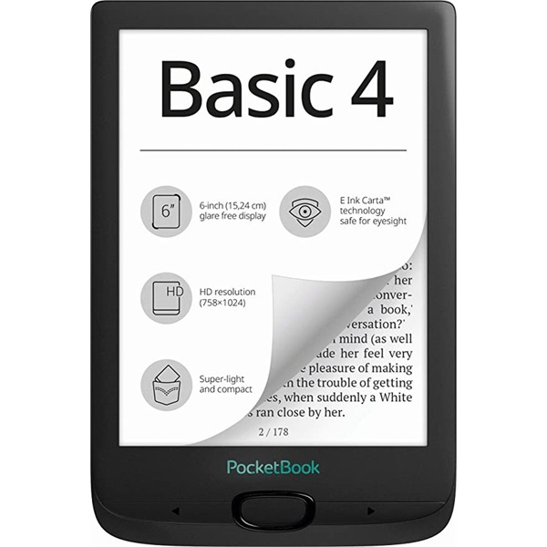 PocketBook PB606-E-WW Basic 4 fekete E-Book olvasó - 1