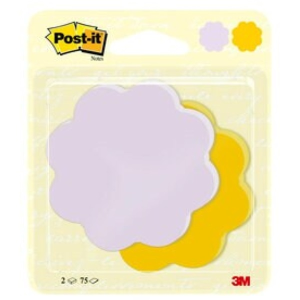 Post-it Virág alakú 2x75lap 72,5x72,5mm öntapadó jegyzettömb - 2