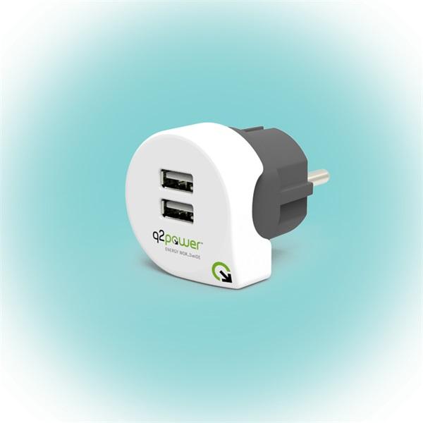 Q2 Power Q2CHARGE2 Európa 2.4A univerzális 2x USB hálózati töltő - 1