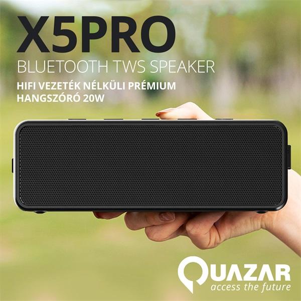 Quazar QZR-SP06-BL X5PRO fekete Bluetooth hangszóró - 1