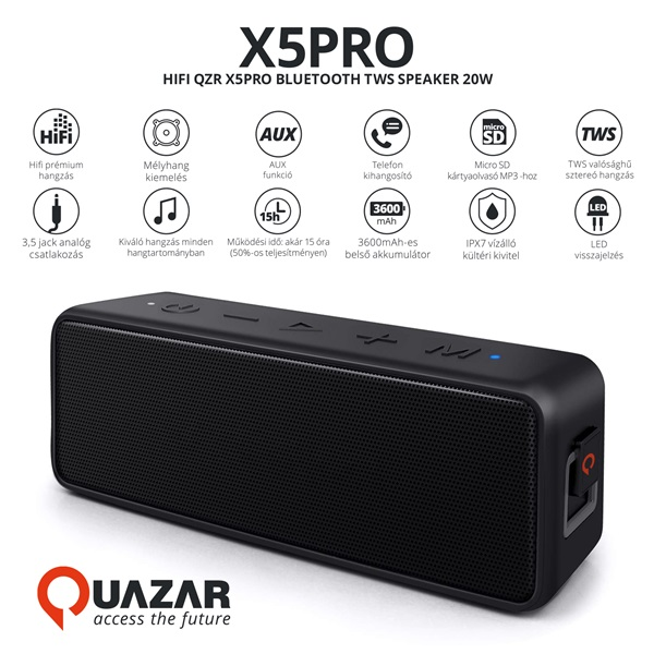 Quazar QZR-SP06-BL X5PRO fekete Bluetooth hangszóró - 4