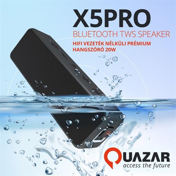 Quazar QZR-SP06-BL X5PRO fekete Bluetooth hangszóró - 6