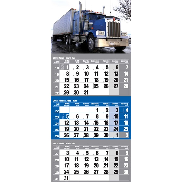 Realsystem 2021-es 6061-44 Kamion 12lapos kék speditőr naptár - 1