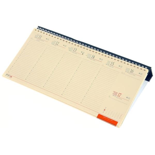 Realsystem 2021-es 7932 sárga papíros fekvő kék asztali naptár - 1