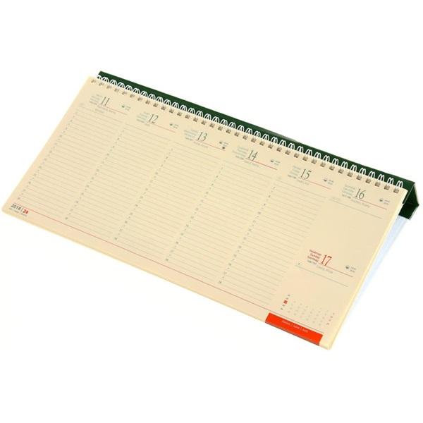 Realsystem 2021-es 7932 sárga papíros fekvő zöld asztali naptár - 1