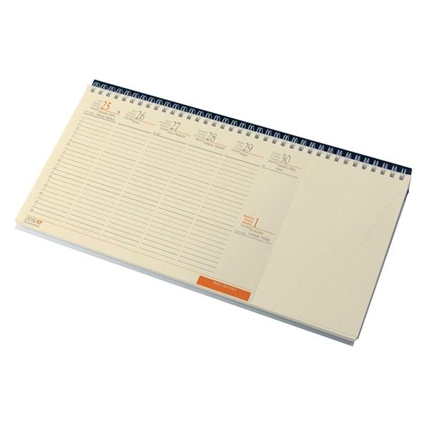 Realsystem 2021-es 7942 fekvő sárga papíros blokktömbös kék asztali naptár - 1