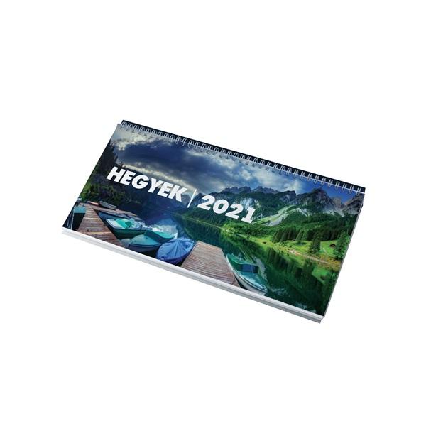 Realsystem 2021-es Hegyek 7951-08 képes zöld asztali naptár - 1