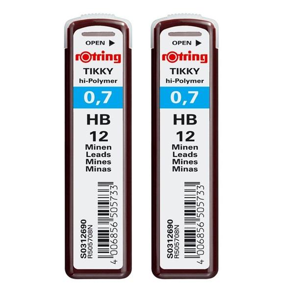 Rotring 0,7mm HB 2db-os nyomósirón betét - 1