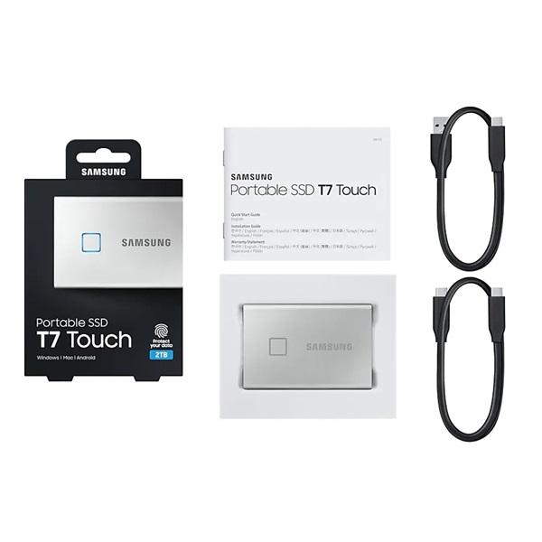 Samsung 500GB USB 3.2 (MU-PC500S/WW) ezüst ujjlenyomatolvasós T7 Touch külső SSD - 5