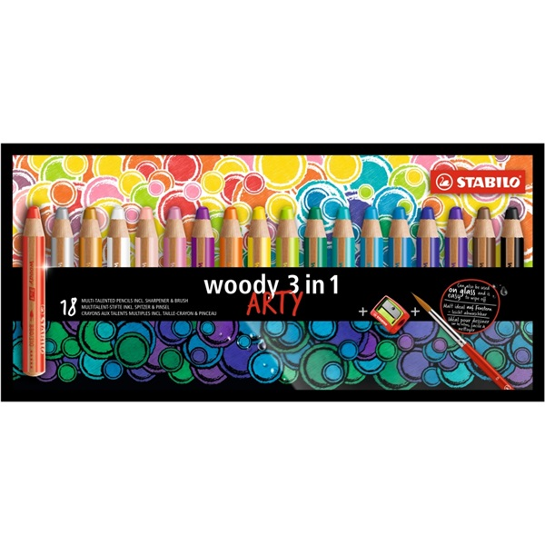 Stabilo ARTY Woody 3in1 18db-os vegyes színű krétaceruza - 1