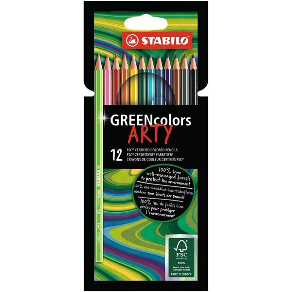 Stabilo Green colors Arty 12db-os vegyes színű színes ceruza - 1
