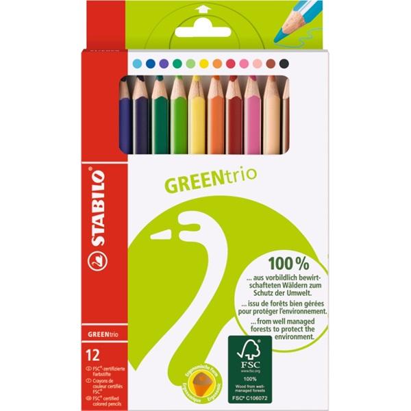 Stabilo GreenTrio FSC vastag 12db-os vegyes színű színes ceruza - 1