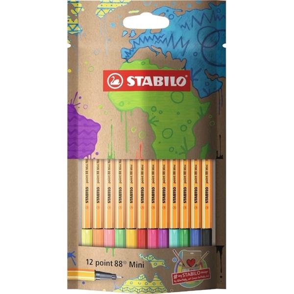 Stabilo mySTABILOdesign Point 88 Mini 12db-os vegyes színű tűfilc készlet - 1