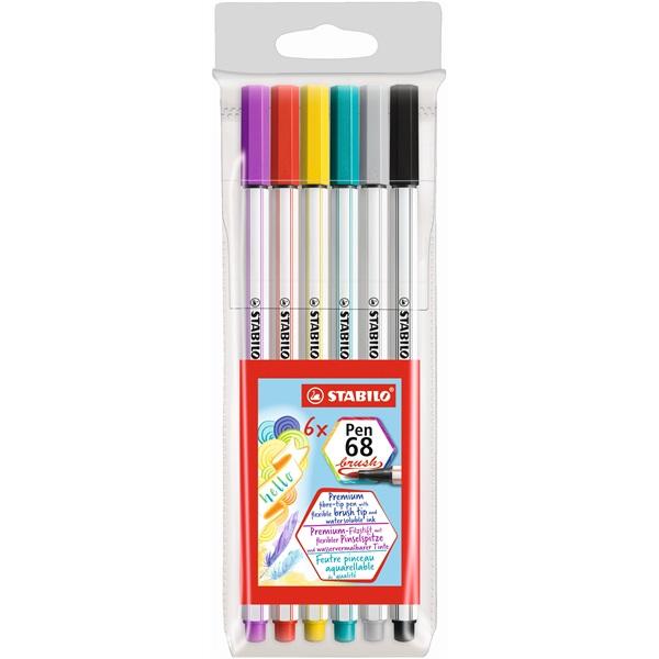 Stabilo Pen 68 brush 6db-os vegyes színű ecsetfilc - 1