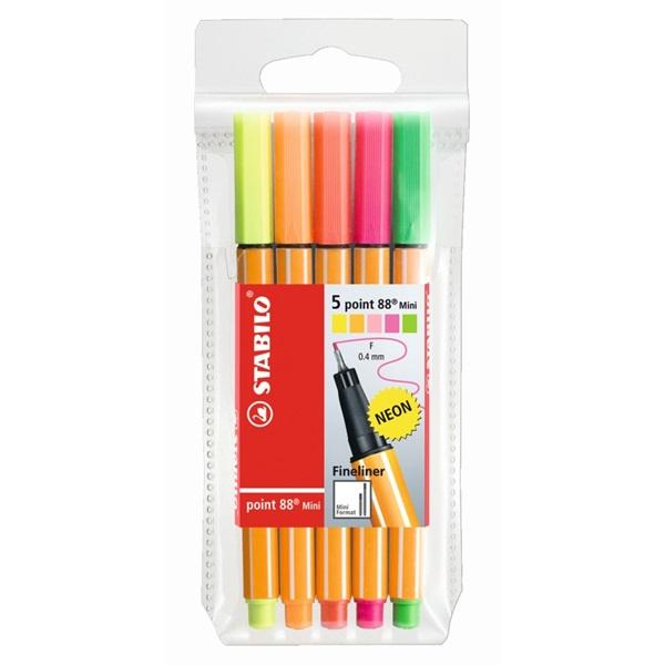 Stabilo Point 88 Mini neon 5db-os vegyes színű tűfilc készlet - 1