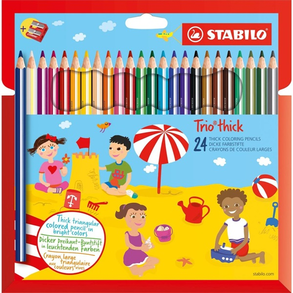 Stabilo Trio 24db-os vegyes színű színes ceruza + hegyező - 1