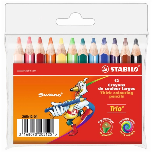 Stabilo Trio vastag rövid 12db-os vegyes színű színes ceruza - 1