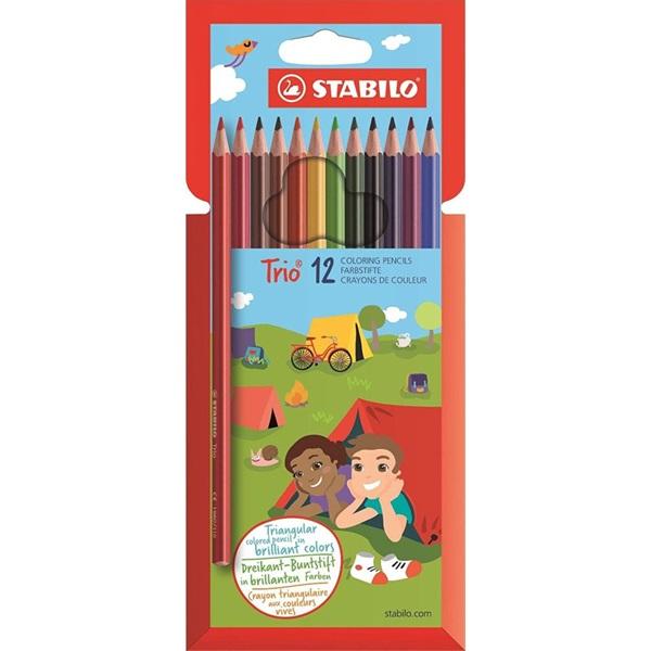 Stabilo vékony háromszög alakú 12db-os vegyes színű színes ceruza - 1