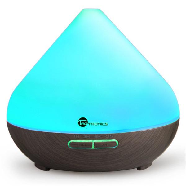 Taotronics TT-AD002 sötétbarna fa mintázatú ultrahangos illóolaj párásító LED fénnyel - 1