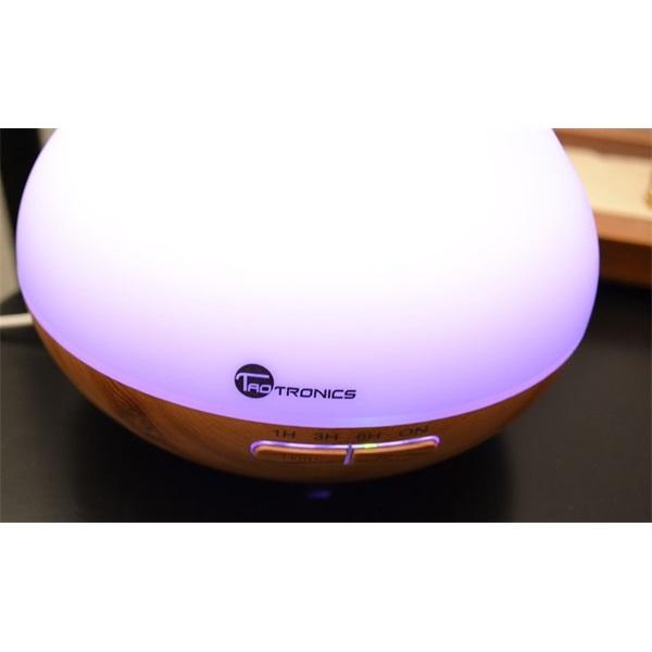 Taotronics TT-AD002 ultrahangos LED fénnyel fa mintázatú világosbarna illóolaj párásító - 3