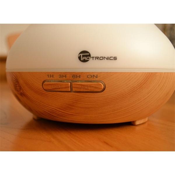 Taotronics TT-AD002 ultrahangos LED fénnyel fa mintázatú világosbarna illóolaj párásító - 4