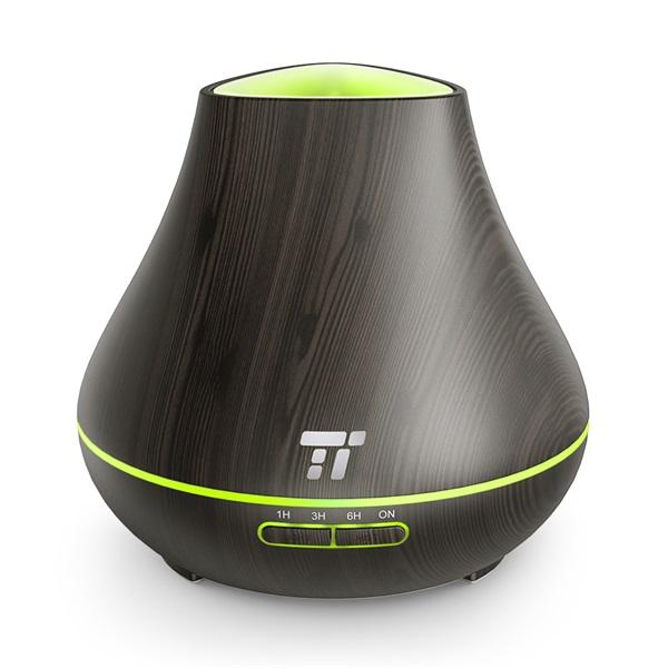 Taotronics TT-AD004 sötétbarna fa mintázatú ultrahangos illóolaj párásító LED fénnyel - 1