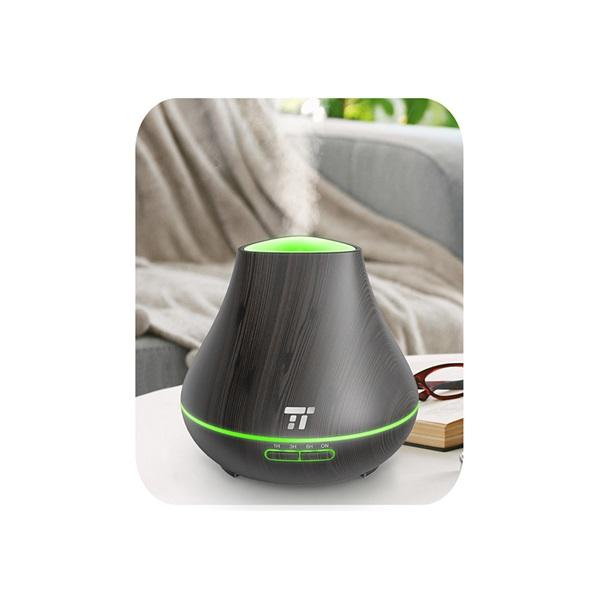 Taotronics TT-AD004 sötétbarna fa mintázatú ultrahangos illóolaj párásító LED fénnyel - 2