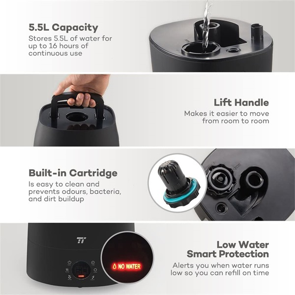 Taotronics TT-AH007 fekete ultrahangos párásító - 7