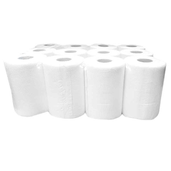 Tekercses kéztörlő 14cm 2 rétegű fehér tissue 12 tekercs/csomag - 1