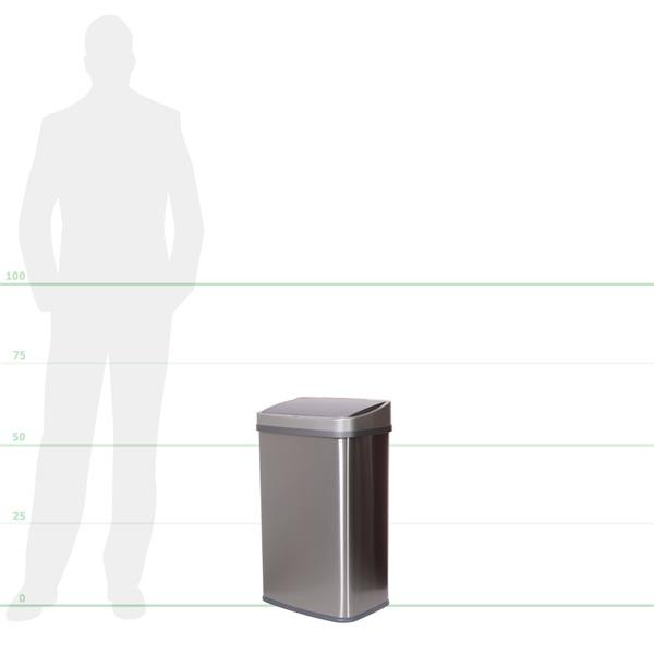 TOO 50 literes rozsdamentes acél szenzoros szemetes - fekete fedővel - 5