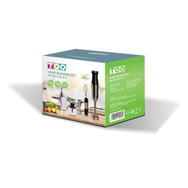 TOO HB-600-501 fekete-inox botmixer szett - 2