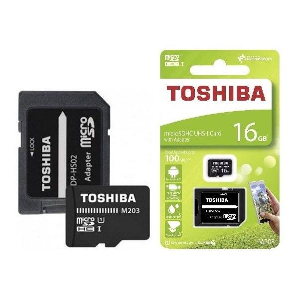 Toshiba M203 16GB SD micro (SDXC Class 10 UHS-I U1) (THN-M203K0160EA) memória kártya adapterrel - 3