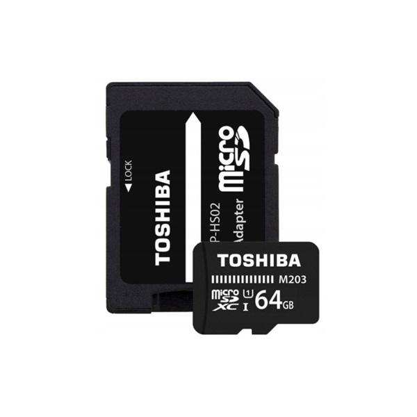 Toshiba M203 64GB SD micro (SDXC Class 10 UHS-I U1) (THN-M203K0640EA) memória kártya adapterrel - 1