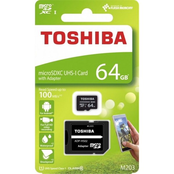 Toshiba M203 64GB SD micro (SDXC Class 10 UHS-I U1) (THN-M203K0640EA) memória kártya adapterrel - 2