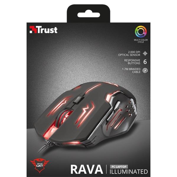 Trust GXT 108 Rava Illuminated USB fekete gamer egér - 5