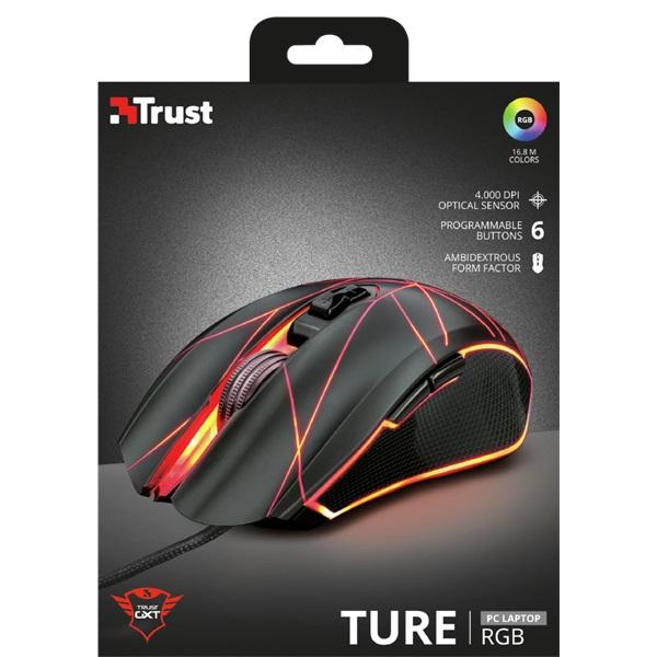 Trust GXT 160 Ture Illuminated fekete gamer egér - 6