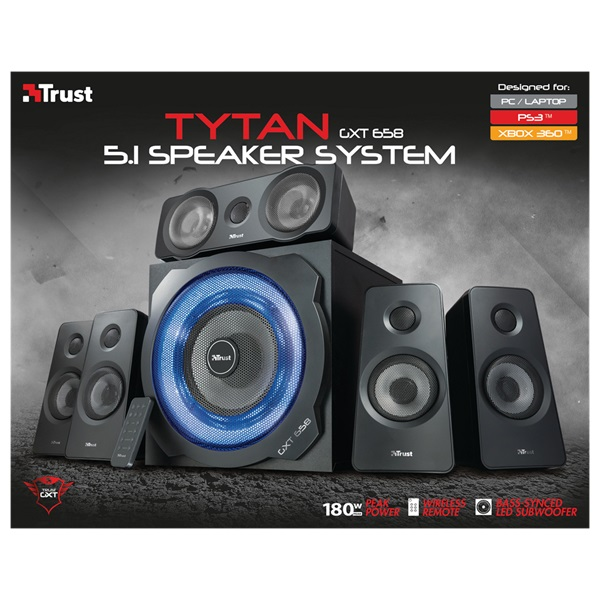 Trust GXT 658 Tytan 5.1 Surround gaming jack 180W fa gamer hangszóró - 3
