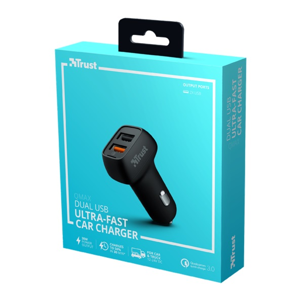 Trust Qmax Ultra-Fast Dual USB QC3 autós töltő okostelefonokhoz és tabletekhez 2 USB port 30W fekete - 5