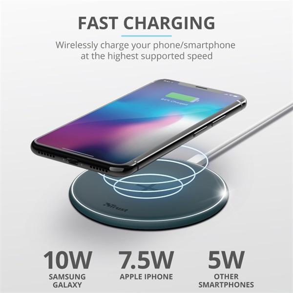 Trust Qylo Fast QI 7.5/10W wireless kék töltő - 1