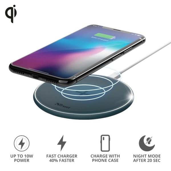 Trust Qylo Fast QI 7.5/10W wireless kék töltő - 5