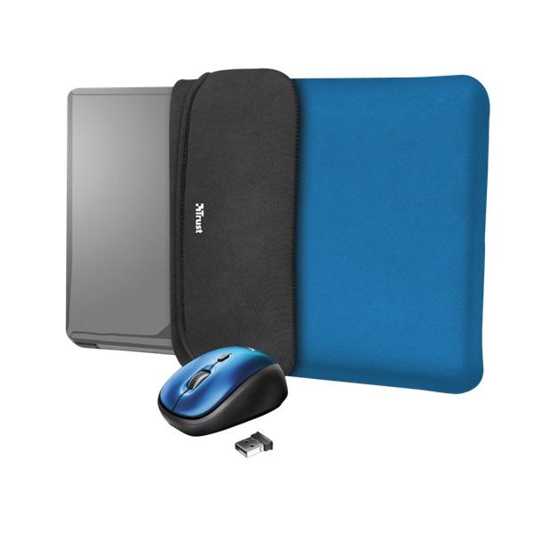 Trust Yvo kék 15,6 notebook tok + wireless egér - 1