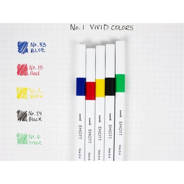 Uni Emott No.1 Vivid Colors 5db-os vegyes színű tűfilc készlet - 1