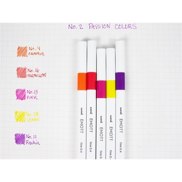 Uni Emott No.2 Passion Colors 5db-os vegyes színű tűfilc készlet - 1