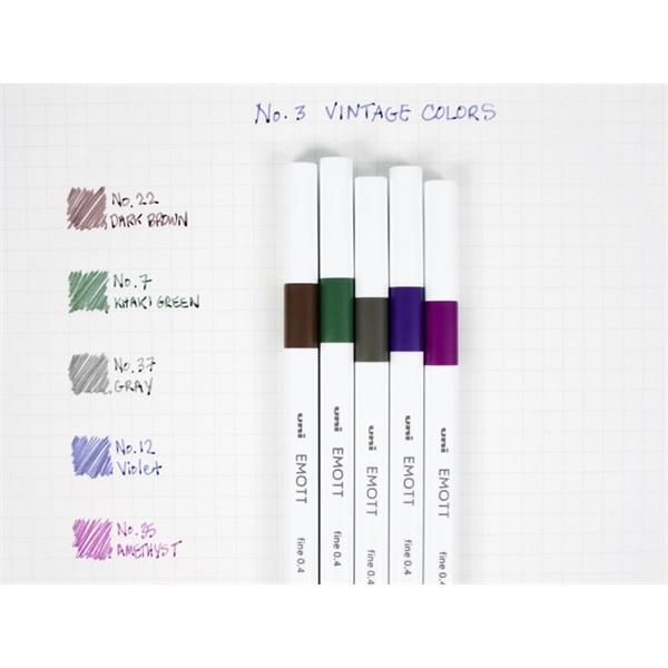 Uni Emott No.3 Vintage Colors 5db-os vegyes színű tűfilc készlet - 1
